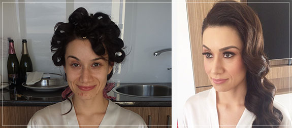 Before and after examples of wedding makeup by Bella For Makeup